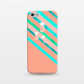 iPhone 5/5E/5s  Peach and Blue Pineapple Stripes by  (pineapple,pineapples,geometric,fruit,stripes)