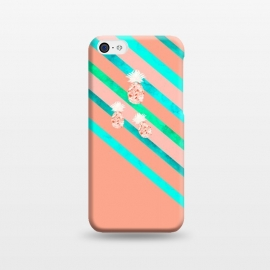 Peach and Blue Pineapple Stripes by Amaya Brydon (pineapple,pineapples,geometric,fruit,stripes)