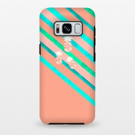 Galaxy S8 plus  Peach and Blue Pineapple Stripes by  (pineapple,pineapples,geometric,fruit,stripes)