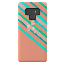 Galaxy Note 9  Peach and Blue Pineapple Stripes by
