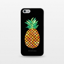 iPhone 5/5E/5s  Pineapple On Black  by  (pineapple,fruit,tropical,hawaii,black,watercolor)