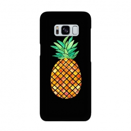 Pineapple On Black  by Amaya Brydon (pineapple,fruit,tropical,hawaii,black,watercolor)