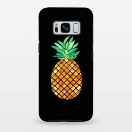 Galaxy S8 plus  Pineapple On Black  by  (pineapple,fruit,tropical,hawaii,black,watercolor)