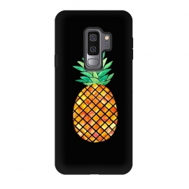 Galaxy S9 plus  Pineapple On Black  by  (pineapple,fruit,tropical,hawaii,black,watercolor)
