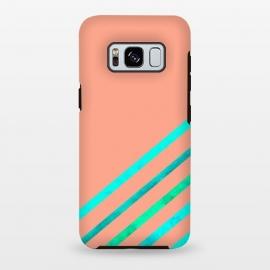 Galaxy S8 plus  Peach Stripes by  (stripes,geometric,stripe,peach,aqua,minimal)