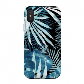 Turquoise black palm and ficus tropical leaves by Oana