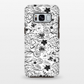 Galaxy S8 plus  Stylish abstract brush strokes and floral doodles design by