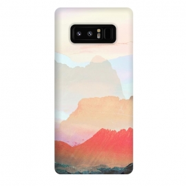 Galaxy Note 8  Minimal peach mountain sunset landscape by