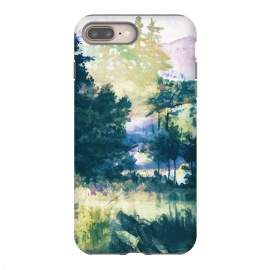 Watercolor painted forest landscape by Oana