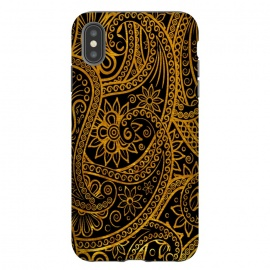 Mandala Doodles in gold mobile cover by Josie George