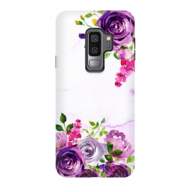 Galaxy S9 plus  Hand drawn purple and pink florals by  ( blossom, flower, pink, nature,  floral, petal,  flora,  botany,  botanical,  vintage, flowers, retro, girly, trendy, utart, woman, women, feminine, girl, girls, chic, victorian, tropical, exotic, rose,roses,illustration,botanical)