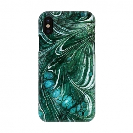 iPhone X  Emerald green painted liquid marble by