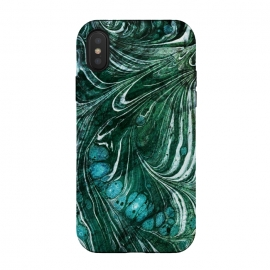 Emerald green painted liquid marble by Oana