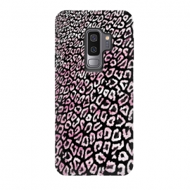 Galaxy S9 plus  Pastel pink leopard print on black  by
