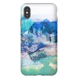 Blue turquoise painted mountain landscape by Oana
