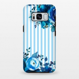 Galaxy S8 plus  Blue florals with light blue stripes by