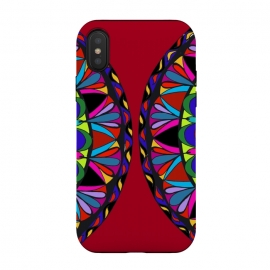 Red mandala doodling decorative art henna art multicolour phonecase by Josie George