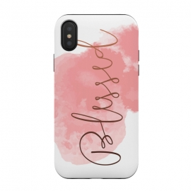 iPhone Xs / X  Blessed by  (watercolor, other, typography, minimalism, blessed, happy, pink, copper, baby pink, quote)