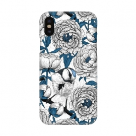 iPhone X  White peonies and blue tit birds by