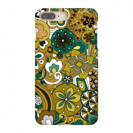 Retro Moody Florals in Green and Mustard by Paula Ohreen