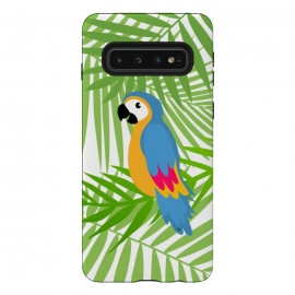Cute colourful parrot by Martina (parrot, bird, animal,coloruful,jungle, exotic,modern, stylish, fashion, for her,sweet,cute,nature,leaves,palm,illustration,custom,original, unique,green)