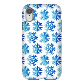 iPhone Xr  Blue Watercolor Snowflake Pattern by
