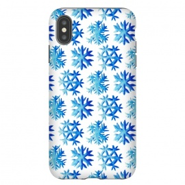 iPhone Xs Max  Blue Watercolor Snowflake Pattern by
