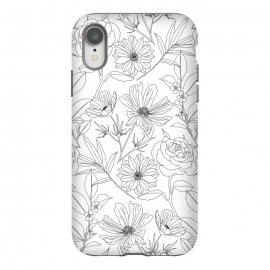 iPhone Xr  stylish garden flowers black outlines design by