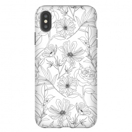 stylish garden flowers black outlines design by InovArts