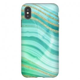 Teal Turquoise and Gold Foil Marble Waves by DaDo ART