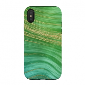 Spring Green and TEal and Gold Mermaid Marble WAves by DaDo ART