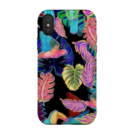 iPhone Xs / X  Colorful sketched tropical birds and leaves by