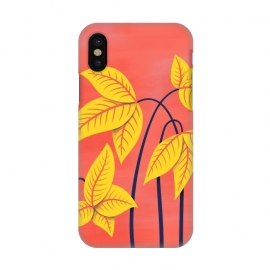 iPhone X  Abstract Flowers Geometric Art In Vibrant Coral And Yellow  by