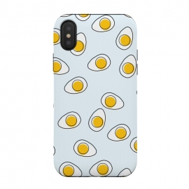 iPhone Xs / X  Cute Eggs on Blue Background by