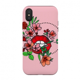 Red lips floral art geometric art phonecases by Josie George
