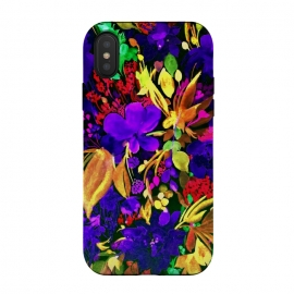 Designer phonecases floral art blue yellow leaves art colorful painting tropical art phonecase by Josie George