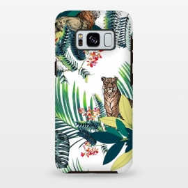 Galaxy S8 plus  Tiger and tropical jungle leaves and flowers by