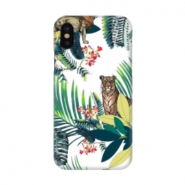 iPhone X  Tiger and tropical jungle leaves and flowers by
