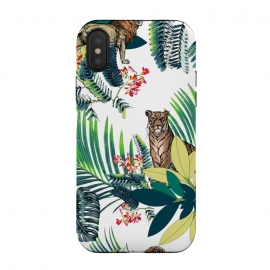 Tiger and tropical jungle leaves and flowers by Oana