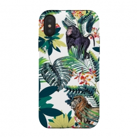 Monkey, lion and tropical foliage illustration by Oana