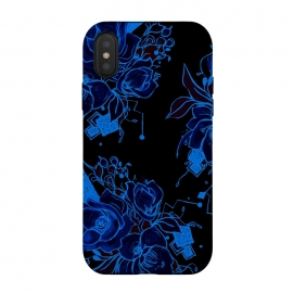 Blue design floral art flowers peoies roses by Josie George