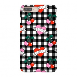 Love heart by Laura Grant (love,heart,cherry,gingham,cute)