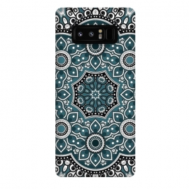 Galaxy Note 8  Mandala black blue white design intricate art dotwork decorative doodling henna by
