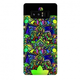 Galaxy Note 8  Designer green yelow colorful mandala design jewel artwork henna design by