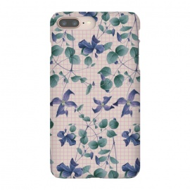 iPhone 8/7 plus  Blue Vintage by  (floral,nature,pattern,flower,spring,blue,clematis,flowers,botanical,natural,flora,print,art,vintage,stripes,zala farah,zala02creations,pretty,botanic,garden)