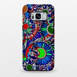 Galaxy S8 plus  Mandala blue decorative doodling henna art doodling red mandalas psychedelic art by