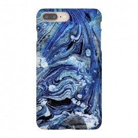 Abstract blue painted marble art by Oana