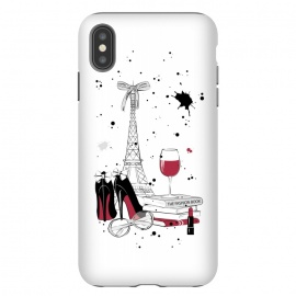 See you in Paris by Martina (Paris,France,french,eiffel tower,wine,feminine,heels,books,travel,travelling,lipstick,for her,for bestie,black and white,illustration)