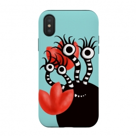 Cute Monster With Four Eyes And Abstract Tulips by Boriana Giormova