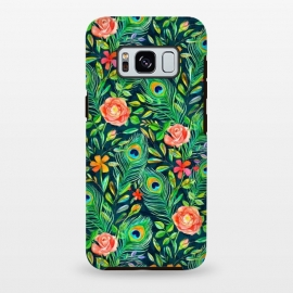 Galaxy S8 plus  Peacock Posies on Dark by  (peacock, feather,feathers,painted,pattern,micklyn,roses,floral,boho,bohemian,emerald,green,coral,nature,bird,leaves,botanical)